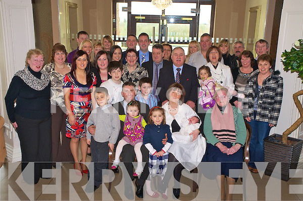 Baby Ewan McGillycuddy, Ballydribeen, Killarney pictured with his parents Timmy and Louise, sister Orianne, family and friends during his christening celebrations in the Killarney oaks on Sunday.....