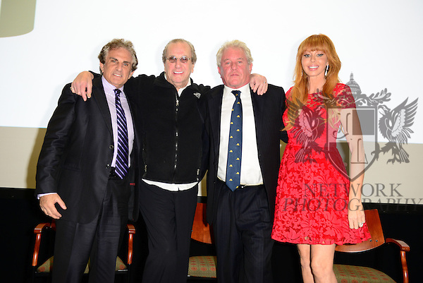 CORAL GABLES, FL - NOVEMBER 20: John Herzfeld, Danny Aiello, Tom Berenger and Rebekah Chaney attend Q&A session after the premiere screening Of 'Reach Me' Hosted by University Of Miami inside the BankUnited Center Fieldhouse at University of Miami on Thursday November 20, 2014 in Coral Gables, Florida. (Photo by Johnny Louis/jlnphotography.com)