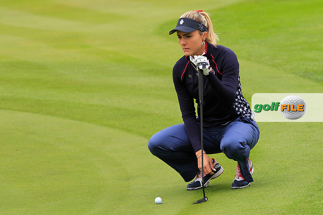 Lexi Thompson (USA) on the 1st green during Day 3 Singles at the Solheim Cup 2019, Gleneagles Golf CLub, Auchterarder, Perthshire, Scotland. 15/09/2019.<br /> Picture Thos Caffrey / Golffile.ie<br /> <br /> All photo usage must carry mandatory copyright credit (© Golffile | Thos Caffrey)