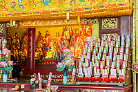 George Town, Penang, Malaysia.  Altar inside Goddess of Mercy Temple, Kuan Yin Teng, Kong Hock Keong.  Wishes and Prayers for Good Fortune on Right.