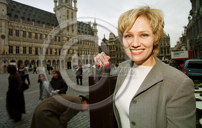 BRUSSELS 5.11.1999--MEP Eija-Riitta KORHOLA (PPE) on the Grand Place of  Brussels. --PHOTO: JUHA ROININEN / EUP-IMAGES