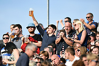 Bath Rugby supporters in the crowd celebrate a try. Aviva Premiership match, between Bath Rugby and Newcastle Falcons on September 23, 2017 at the Recreation Ground in Bath, England. Photo by: Patrick Khachfe / Onside Images