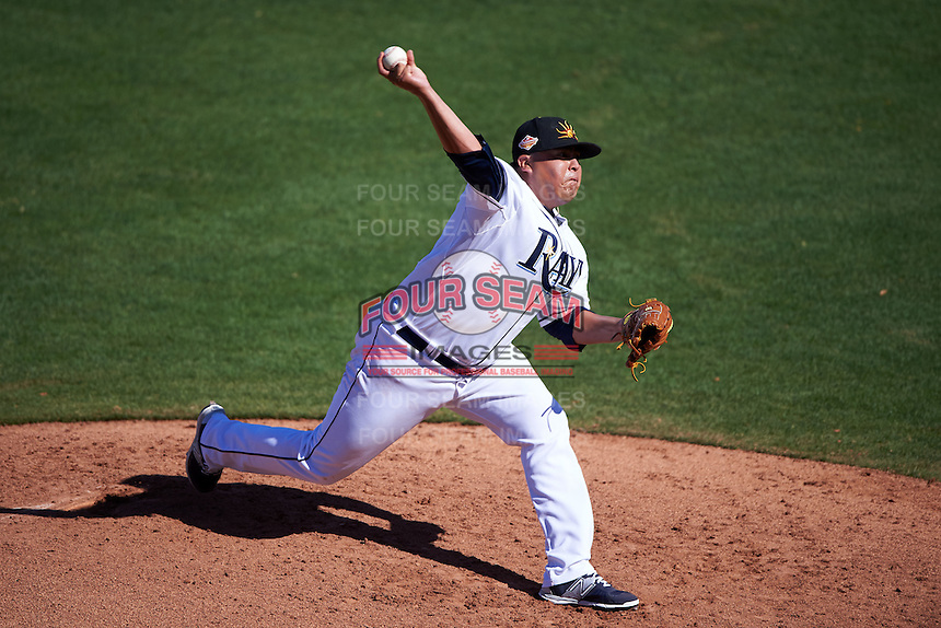 Mesa Solar Sox pitcher Mike Franco (30) delivers a pitch during an Arizona Fall League game against the Scottsdale Scorpions on October 19, 2015 at Sloan Park in Mesa, Arizona.  Scottsdale defeated Mesa 10-6.  (Mike Janes/Four Seam Images)