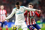 Atletico de Madrid's Lucas Hernandez (r) and Real Madrid CF's Carlos Henrique Casemiro during La Liga match. November 18,2017. (ALTERPHOTOS/Acero)