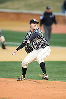 Wake Forest Demon Deacons relief pitcher Paul Kirkpatrick (42) in action against the Miami Hurricanes at Wake Forest Baseball Park on March 20, 2015 in Winston-Salem, North Carolina.  The Hurricanes defeated the Demon Deacons 15-2.  (Brian Westerholt/Four Seam Images)