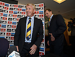 Gordon Strachan is appointed as the new Scotland manager as he walks in with SFA Chief Exec Stewart Regan.
