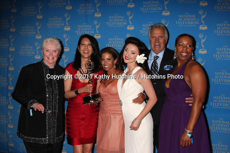 LOS ANGELES - JUN 17:  Susan Flannery, Bold & Beautiful Makeup Winners, John McCook in the Press Area at the 38th Annual Daytime Creative Arts & Entertainment Emmy Awards at Westin Bonaventure Hotel on June 17, 2011 in Los Angeles, CA