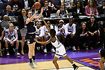 COLUMBUS, OH - APRIL 1: Marina Mabrey #3 of the Notre Dame Fighting Irish shoots a jump shot as Jazzmun Holmes #10 of the Mississippi State Bulldogs  defends during the championship game of the 2018 NCAA Division I Women's Basketball Final Four at Nationwide Arena in Columbus, Ohio. (Photo by Tim Nwachukwu/NCAA Photos via Getty Images)