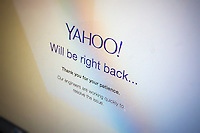 A screen on the Yahoo! mail page reports a temporary outage, seen on Monday, September 22, 2014.( © Richard B. Levine)