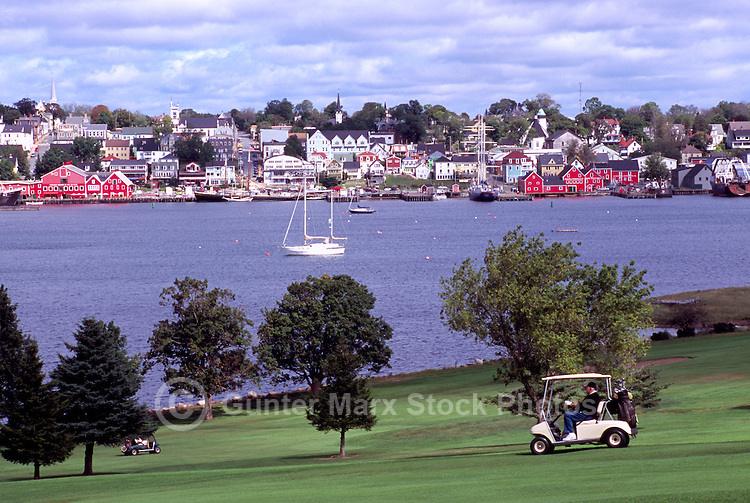 Old Town Lunenburg, a UNESCO World Heritage Site, NS, Nova Scotia, Canada - Lunenburg Harbour / Harbor and Bluenose Golf Course at Kaulbach Head - South Shore Region