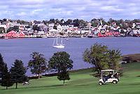 Old Town Lunenburg, a UNESCO World Heritage Site, NS, Nova Scotia, Canada - Lunenburg Harbour / Harbor and Bluenose Golf Course at Kaulbach Head - South Shore Region