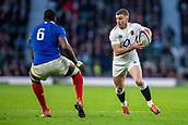 10th February 2019, Twickenham Stadium, London, England; Guinness Six Nations Rugby, England versus France; George Ford of England runs towards Yacouba Camara of France