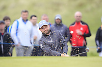 Andy Sullivan (ENG) plays out of a bunker on the 4th during Round 2 of the Betfred British Masters 2019 at Hillside Golf Club, Southport, Lancashire, England. 10/05/19<br /> <br /> Picture: Thos Caffrey / Golffile<br /> <br /> All photos usage must carry mandatory copyright credit (&copy; Golffile | Thos Caffrey)