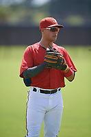 GCL Nationals Anthony Gomez (3) during warmups before a Gulf Coast League game against the GCL Astros on August 9, 2019 at FITTEAM Ballpark of the Palm Beaches training complex in Palm Beach, Florida.  GCL Nationals defeated the GCL Astros 8-2.  (Mike Janes/Four Seam Images)