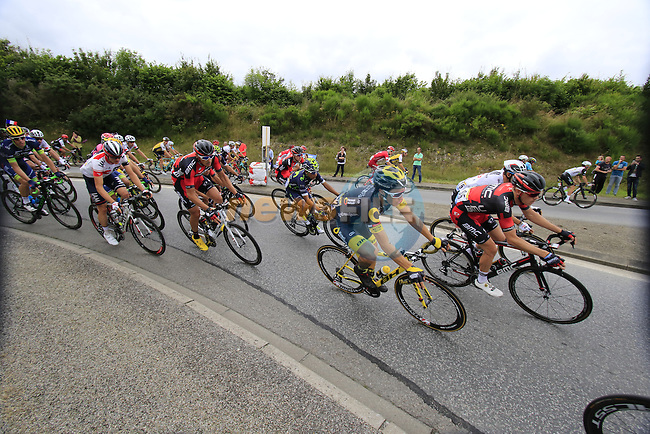 Riders including Sylvain Chavanel (FRA) Direct Energie pass through Segre during Stage 3 of the 2016 Tour de France, running 223.5km from Granville to Angers, France . 4th July 2016.<br /> Picture: Eoin Clarke | Newsfile<br /> <br /> <br /> All photos usage must carry mandatory copyright credit (&copy; Newsfile | Eoin Clarke)