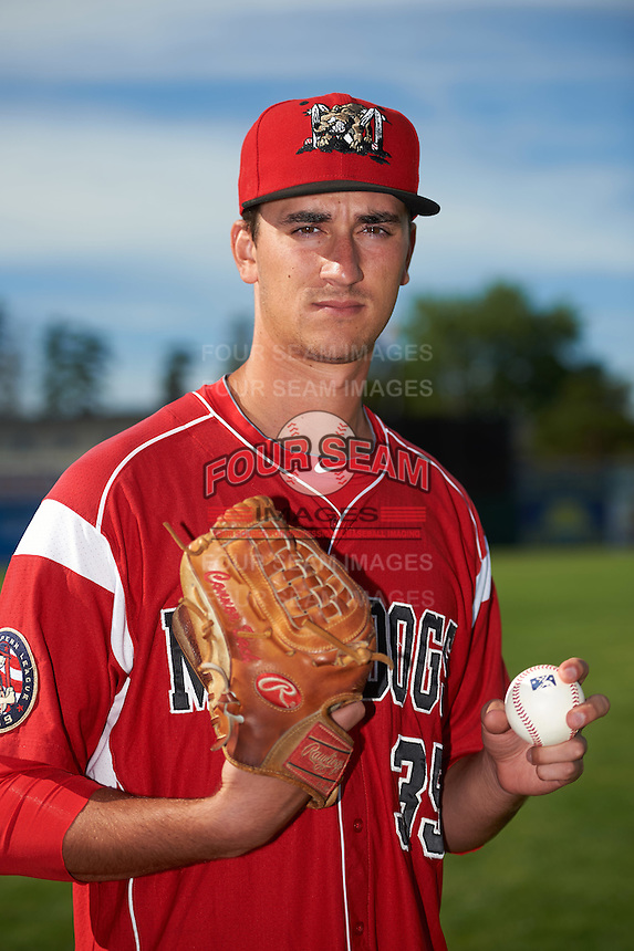 Batavia Muckdogs pitcher Connor Bach (35) poses for a photo before a game against the West Virginia Black Bears on June 30, 2016 at Dwyer Stadium in Batavia, New York.  Batavia defeated West Virginia 4-3.  (Mike Janes/Four Seam Images)