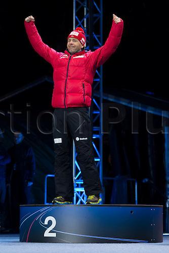 05.03.2016. Oslo Holmenkollen, Oslo, Norway. IBU Biathlon World Cup. Day One. X winner of  men 10km medal ceremony during the IBU World Championships Biathlon in Holmenkollen Oslo, Norway.