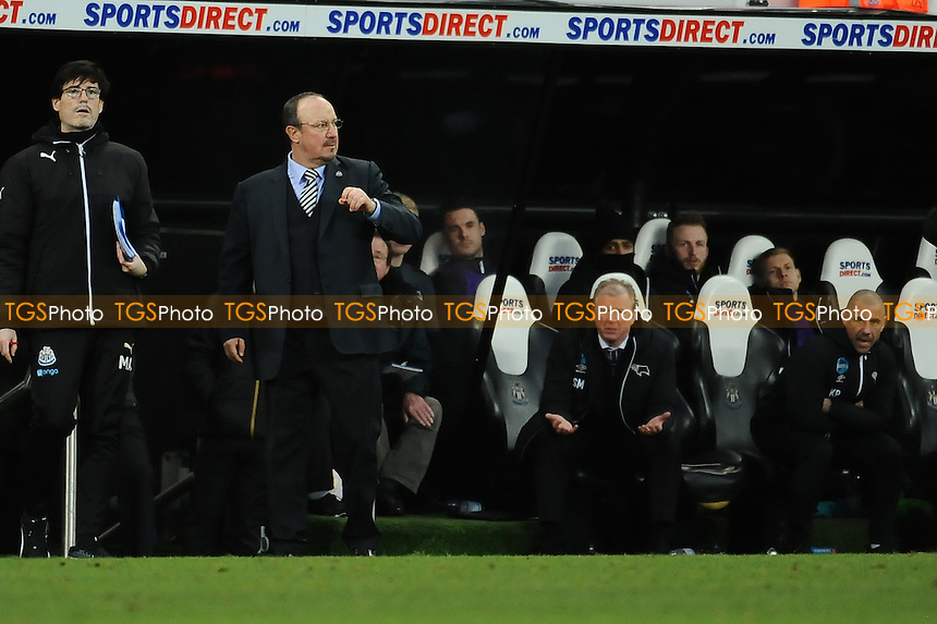 Newcastle United manager Rafa Benítez stands on the touchline as a frustrated Derby County managerSteve McClaren sits behind during Newcastle United vs Derby County, Sky Bet EFL Championship Football at St. James' Park on 4th February 2017