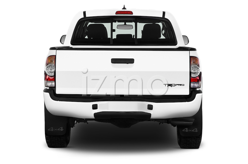 Straight rear view of 2015 Toyota Tacoma TRD Pro 4 Door Pickup Rear View  stock images
