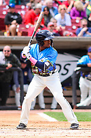 Wisconsin Timber Rattlers second baseman Devin Hairston (1) at bat during a Midwest League game against the Great Lakes Loons on May 12, 2018 at Fox Cities Stadium in Appleton, Wisconsin. Wisconsin defeated Great Lakes 3-1. (Brad Krause/Four Seam Images)