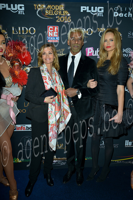 Ingrid Chauvin, Satya Oblette, Adrianna Karembeu during the 12th final of the Top Model Belgium in the Lido of Paris with Adrianna Karembeu as presenter and Ingrid Chauvin and Satya Oblette for the president of the jury, 24 januari 2016, Paris, France
