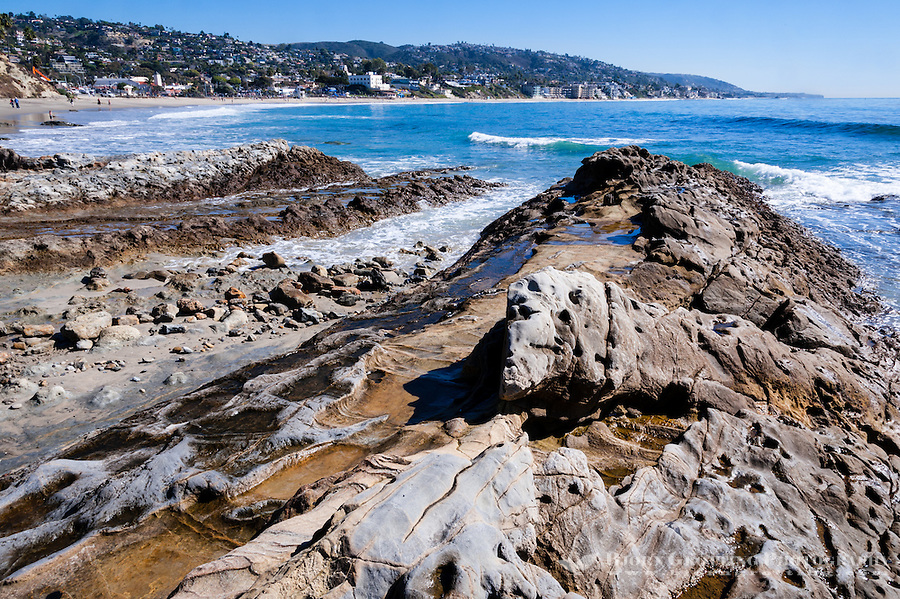 United States, California, Laguna Beach. Laguna Beach is a seaside resort city and artist community located in southern Orange County. Rocky, eroded coast.