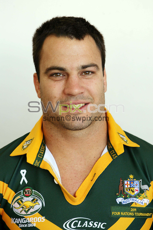 PICTURE BY Australian Rugby League…Rugby League - Australia Rugby League Headshots 2011 - 20/10/11…Australia's David Shillington.