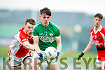 Timmy Moriarty West Kerry in action against Cian Gammell Legion in the Quarter Final of the Kerry Senior County Championship at Austin Stack Park on Sunday.