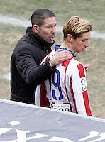 Atletico de Madrid's coach Diego Pablo Cholo Simeone with Fernando Torres during La Liga match.February 7,2015. (ALTERPHOTOS/Acero) /NORTEphoto.com