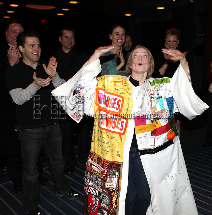 Joyce Chittick with Robert Creighton & Sutton Foster & Kathleen Marshall attending the Opening Night Performance Gypsy Robe Ceremony for Recipient Joyce Chittick for The Roundabout Theatre Company's Broadway Production of 'Anything Goes'  in New York City.