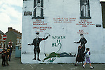 Ireland The Troubles. Belfast Catholic political wall painting. Remembering the Long Kesh internment camp where many for IRA supporters were held. 1980s.