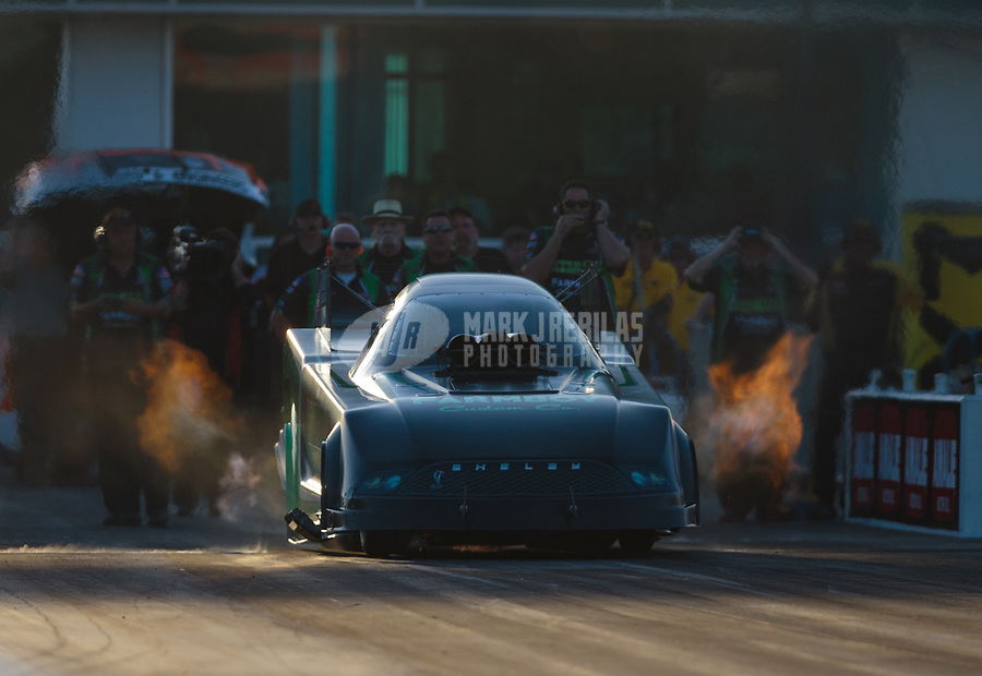 Mar 15, 2019; Gainesville, FL, USA; NHRA funny car driver David Richards during qualifying for the Gatornationals at Gainesville Raceway. Mandatory Credit: Mark J. Rebilas-USA TODAY Sports