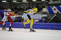 SCHAATSEN: HEERENVEEN: 25-10-2014, IJsstadion Thialf, Marathonschaatsen, KPN Marathon Cup 2, Pien Keulstra (#16), Carien Kleibeuker (#26), ©foto Martin de Jong