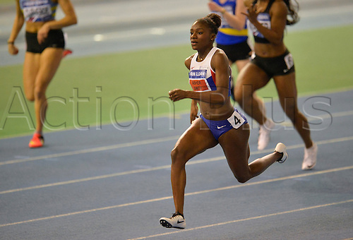 27.02.2016. EIS Sheffield, Sheffield, England. British Indoor Athletics Championships Day One. Dina Asher-Smith on her way to winning her 60m Semi-Final.