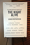 Lobby Cast Board for the Opening Night Curtain Call for the Atlantic Theater Company's 'The Night Alive' at the Linda Gross Theater on December 12, 2013 in New York City.