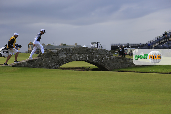 Louis Oosthuizen (RSA) crosses the Swilcan Bridge on the 18th hole during Sunday's Round 3 of the 144th Open Championship, St Andrews Old Course, St Andrews, Fife, Scotland. 19/07/2015.<br /> Picture Eoin Clarke, www.golffile.ie