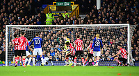 Lincoln City's Michael Bostwick, centre, celebrates scoring his side's first goal<br /> <br /> Photographer Andrew Vaughan/CameraSport<br /> <br /> Emirates FA Cup Third Round - Everton v Lincoln City - Saturday 5th January 2019 - Goodison Park - Liverpool<br />  <br /> World Copyright &copy; 2019 CameraSport. All rights reserved. 43 Linden Ave. Countesthorpe. Leicester. England. LE8 5PG - Tel: +44 (0) 116 277 4147 - admin@camerasport.com - www.camerasport.com