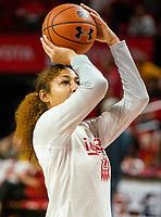 COLLEGE PARK, MD - JANUARY 26: Shakira Austin #1 of Maryland takes a shot during warm up before the game during a game between Northwestern and Maryland at Xfinity Center on January 26, 2020 in College Park, Maryland.