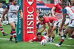 Hong Kong vs Cayman Islands at the HSBC Hong Kong Rugby Sevens 2016 on 08 April 2016 at Hong Kong Stadium in Hong Kong, China. Photo by Marcio Machado / Power Sport Images