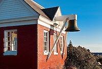 Pemaquid Point Light Station bellhouse, Muscongus Bay, Bristol, Maine, USA. 1827