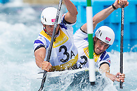 02 AUG 2012 - CHESHUNT, GBR - Tim Baillie (GBR) (left) and Etienne Stott (GBR) (right) of Great Britain make their semi final run during the men's Canoe Double (C2) during the London 2012 Olympic Games event at Lee Valley White Water Centre, Cheshunt, Great Britain (PHOTO (C) 2012 NIGEL FARROW)