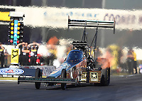 Nov 11, 2016; Pomona, CA, USA; NHRA top fuel driver Tony Schumacher during qualifying for the Auto Club Finals at Auto Club Raceway at Pomona. Mandatory Credit: Mark J. Rebilas-USA TODAY Sports