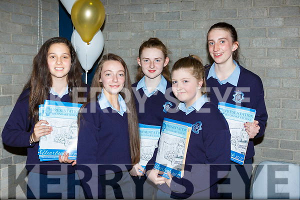 Ellen Dennehy, Allanna Glennon, Lisa Flynn, Niamh Relihan and Lauren Butler at the Castleisland Presentation school awards night on Wednesday evening