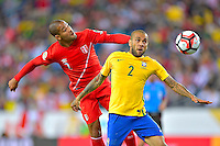 Photo during the match Brasil vs Peru, Corresponding to  Group -B- of the America Cup Centenary 2016 at Gillette Stadium.<br /> <br /> Foto durante al partido Brasil vs Peru, Correspondiente al Grupo -B- de la Copa America Centenario 2016 en el Estadio Gillette en la foto: (i-d)Alberto Rodriguez y Dani Alves<br /> <br /> <br /> 12/06/2016/MEXSPORT/ISAAC ORTIZ