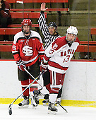 George Hughes (St. Lawrence - 15), Michael Del Mauro (Harvard - 13) - The St. Lawrence University Saints defeated the Harvard University Crimson 3-2 on Friday, November 20, 2009, at the Bright Hockey Center in Cambridge, Massachusetts.