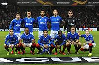 Rangers team line up ahead of the game during Rangers vs SC Braga, UEFA Europa League Football at Ibrox Stadium on 20th February 2020