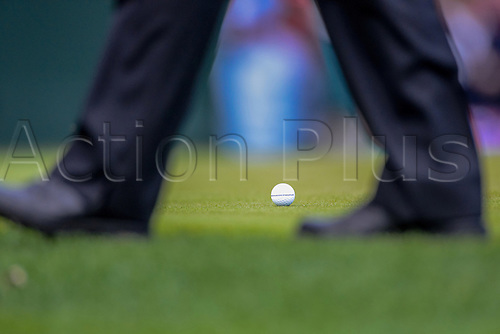 28.09.2012. Medinah, Ill, USA.  A Team Europe golf ball rest on the green in day one of Ryder Cup action during the morning Foursomes, at Medinah Country Club, in Medinah, IL. .