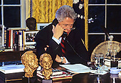 United States President Bill Clinton participates in a conference call about Medicare from the Oval Office of the White House in Washington, D.C. to Lawrence Memorial Hospital in Medford, Massachusetts, Monday, November 13, 1995 . <br /> Credit: Ron Sachs / CNP