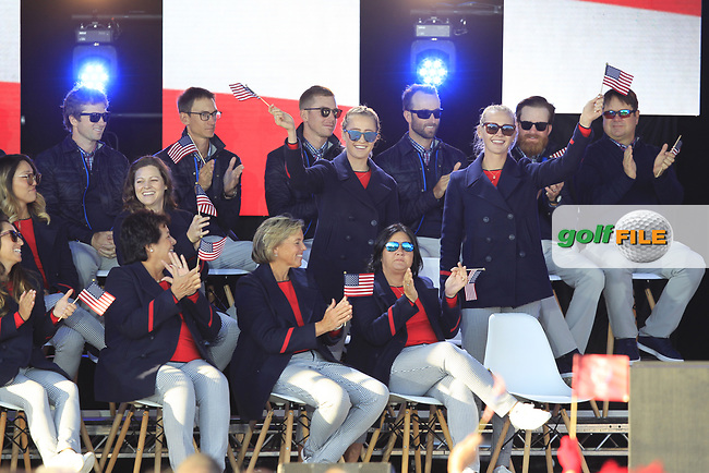 Jessica and Nelly Korda (USA) gets picked to play in the morning foursomes during the Opening Ceremony of the Solheim Cup 2019 at Gleneagles Golf CLub, Auchterarder, Perthshire, Scotland. 12/09/2019.<br /> Picture Thos Caffrey / Golffile.ie<br /> <br /> All photo usage must carry mandatory copyright credit (© Golffile   Thos Caffrey)
