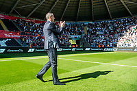 Manager of Swansea City, Paul Clement applauds fans after final whistle of the Premier League match between Swansea City and West Bromwich Albion at The Liberty Stadium, Swansea, Wales, UK. Sunday 21 May 2017 (Photo by Athena Pictures/Getty Images)